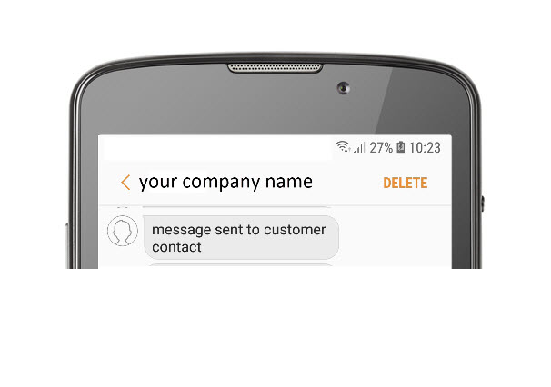 Text message sent to customer contact from 'your company name'