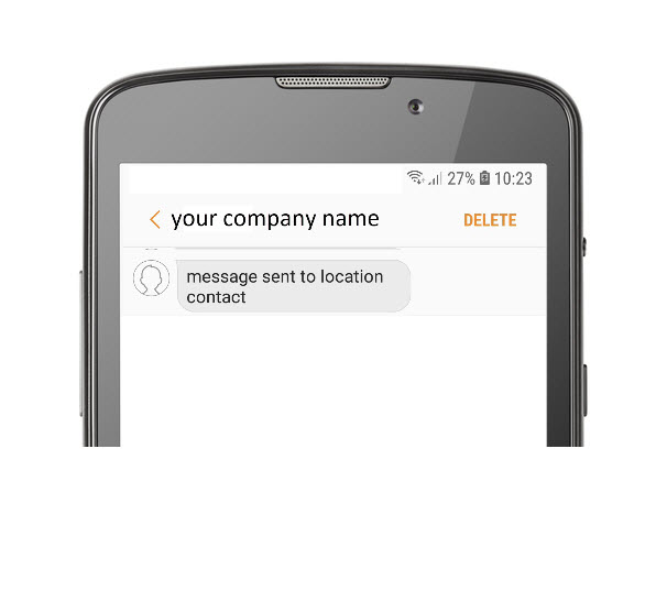 Text message sent to location contact from 'your company name'